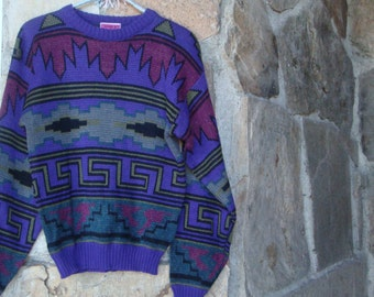 80s TRIBAL PATTERNED PULLOVER vintage sweater xs