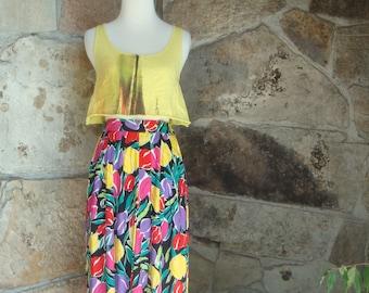 80's PLEATED MIDI SKIRT vintage full skirt bright painterly tulip print sM