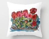 Indoor Decorative Pillow Cover,  Red Geranium Love