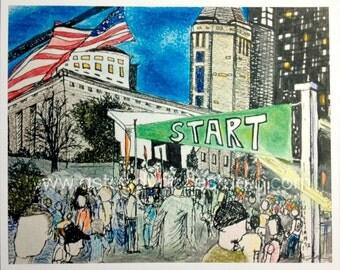 Running Art Print - Reproduction of Original Drawing - Start Line at the Columbus Ohio Marathon - Runner Gift Idea Marathon, Half Marathon