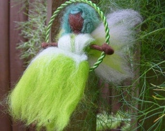 Needle Felted Fairy on a Swing - Fennel Green