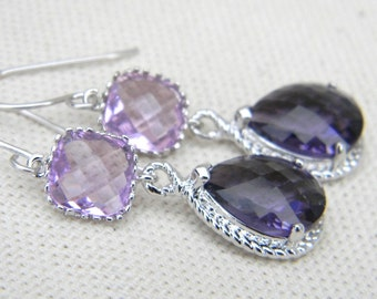Purple Amethyst and Lavender Bridesmaid  Earrings Teardrop Glass - Sterling Silver Earwires - Dangle Earrings-Wedding Earrings-Drop Earring