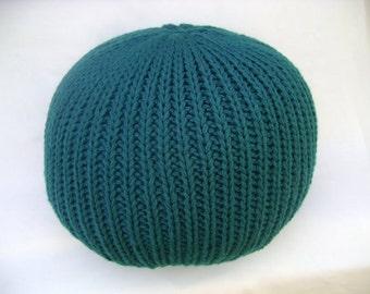 Knitted Pillow Pouf Dark teal