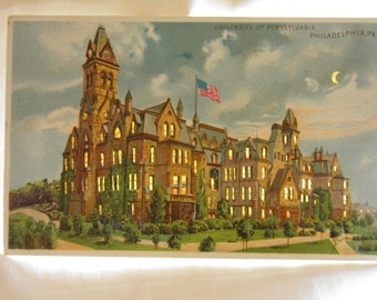University of Pennsylvania, Philadelphia PA Hold-To-Light    HTL Post Card by J. Koehler College University Memorabilia Collectible