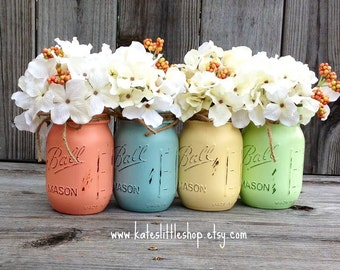 Painted Mason Jars. Vase. Vintage Looking Mason Jars. Set of Four Jars. Set of 4 Painted and distressed Ball Mason Jars. Wedding Decor. blue