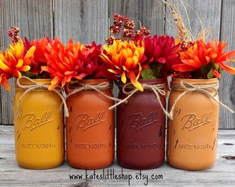 You Pick Set of 2 or 3 or 4 Fall Mason Jars. Rustic Mason Jars. Rustic Home Decor. Fall Decor. Painted Mason Jars. Painted Jars.