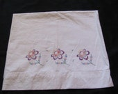 Vintage Embroidered Pillow Case Heavy Weight Soft Cotton