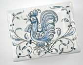 Vintage Blue White Portuguese Ceramic Box Rooster Cock Chicken Hen Anfora Agueda Portugal 151 Pottery Jewelry Souvenir Hand Painted Azulejos