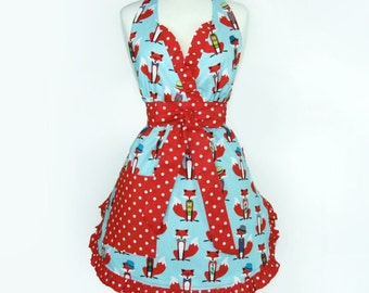 Red Fox Retro Inspired Apron / V-Neck Fox Apron