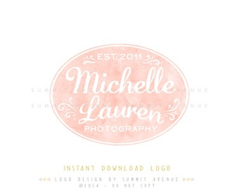 DIY INSTANT DOWNLOAD - Michelle Watercolor Premade Logo Design for Photography or Boutique by Summit Avenue