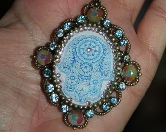 Hamsa necklace, Charm necklace, evil eye jewelry, evil eye necklace,  judaica jewelry,