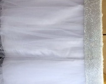 Custom Made Wedding Cake Table Tablecloth White Tulle 60 Inch Round With Rhinestone Bling Accent Band