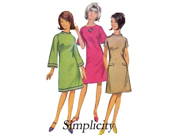 Simplicity 6751 Junior Petites Size 13 Bust 33 1/2 A line dress 3 sleeves Mandarin collar Vintage Sewing Pattern 1960s 60s bell sleeves