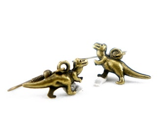 Dinosaur - Antiqued Brass Dinosaur Dangle Earrings - CP066