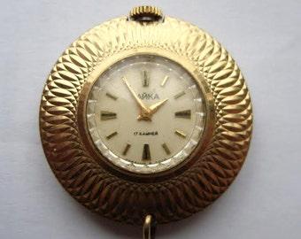 CHAJKA Chaika pendant Soviet Russian watch AU Gold plated Ladies USSR