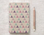 Triangles Recycled Journal & Gold Foil Pencil Set - Mini Large or Midori, Geometric Notebook, Purple Pink Green - Stocking Stuffer