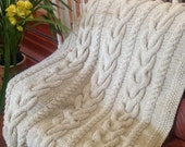 Ready-Made Knit Afghan---------------- V CABLES in OFF WHITE