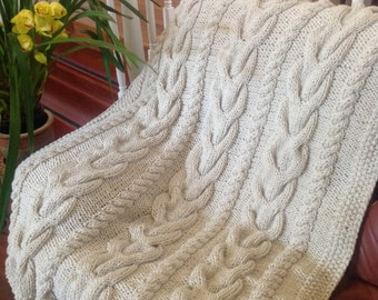 Ready-Made Knit Afghan---V CABLES in OFF WHITE