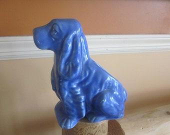 blue pottery dog planter, spaniel dog planter, pottery
