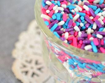 3 oz Jimmies Sprinkles - Party Sprinkles- Pink White Blue Purple Sprinkles for Baking or Cupcakes