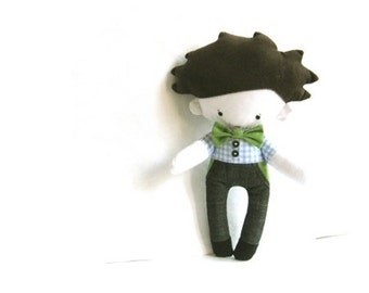 Boy doll stuffed toy stuffed doll plushie softie puppet boy rag doll white blue checked green bow denim jeans 13.7 inch 35 cm