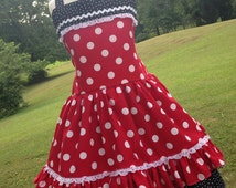 Minnie Mouse Disney Inspired Boutique Style Dress Size 2 3 4 5 6 8 10 12
