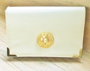 Purse Off White Ivory Handbag Glam Evening Wedding Bridal Party Redesigned Restyled Assemblage Gift Guide Women
