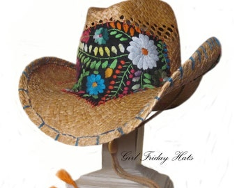 Funky and Fun Mexican Embroidery Hippie Beach Festival Hat