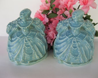 Rookwood Pottery Bookends Standing Colonial Women William McDonald 1920 Blue Home Decor