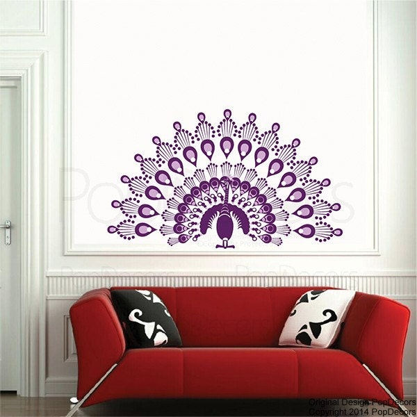peacock wall decals animal wall sticker baby girl room decal. Black Bedroom Furniture Sets. Home Design Ideas