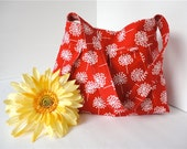 SALE - Everyday Purse - Red and White Dandelions