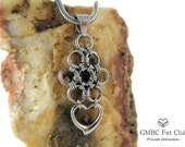 Submissive Heart Day Collar - 316L Stainless Steel Japanese Lace Chainmaille