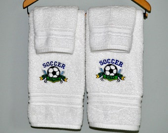 Soccer Mom Dad Embroidered White Luxury Hand Towels with Wash Cloths