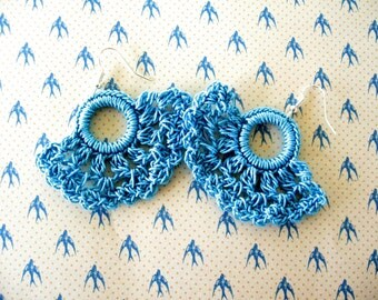 Crochet Earrings, Turquoise Earrings, Shell Earrings, Crochet Shells, Dainty Crochet Earrings, Summer Earrings