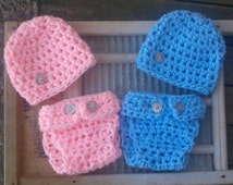 Baby Boy Girl Hat Set Diaper outfit Twin Twins Newborn Crochet Cover Set 0-3 3-6 6-12 12-24 Mos Infant Crochet Photo Prop Beanie