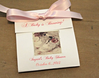 Vintage Design Victorian Shoes Girly Baby Shower Tea Bag Party Favors for Baby Shower or Baby Sprinkle