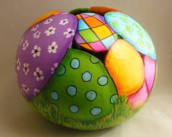 Easter eggs in the grass gourd - handmade, designed, cut and painted.