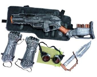 Steampunk gun Nerf Sledgefire goggles soft dart toy Holster-belt-armor set-knife- cyber