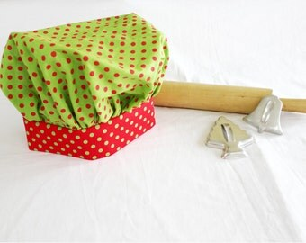 Christmas Dots Child Chef Hat - Adjustable, green with red dots