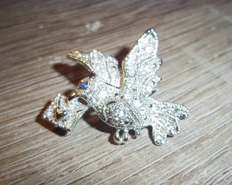 Beautiful Marcasite Bird Costume Jewelry Pin Brooch