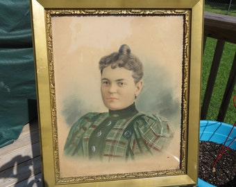 Antique 1860s Framed Portrait or a Southern Lady Civil War Era Beautiful Detail