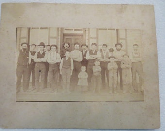 Antique Western Photograph Rough Looking Gang Cowboys Railroad Workers