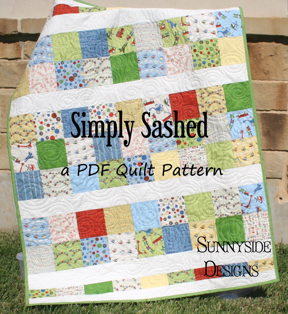 Easy Quilt Patterns Using Precuts : PDF Quilt Pattern Simply Sashed Charm Pack Precuts Simple
