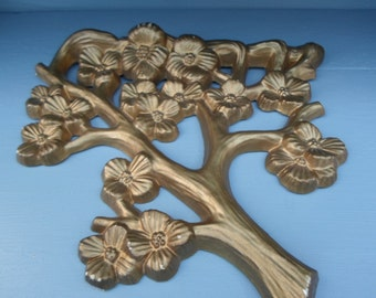 Vintage 1970s Gold Tone Shabby Chic Dogwood Wall Plaque Hanging Tree Branch With Flowers By Burwood