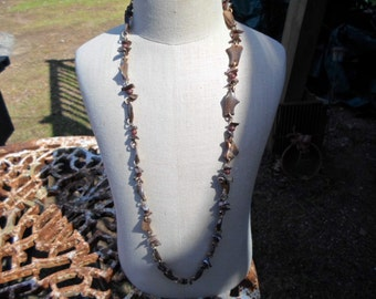 Vintage Brown Long Necklace Abalone Shell Pieces No Clasp Over the Head Gold Tone Linked Funky Different 1960s to 1970s