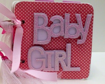 Baby Girl scrapbook Brag Book Premade pages chipboard Mini Scrapbook Album- Baby Shower- Sweet Pea Owls