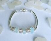 Aqua sea glass bracelet. Sea beach glass jewelry.