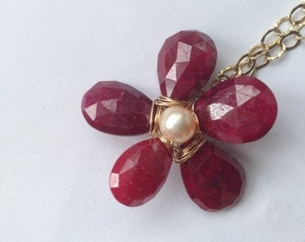 Ruby flower, Peach Pearl , Gold Details, Gifts Under 100, Gold pendant,  jewelry, Lilyb444,