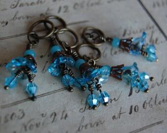 Blue Art Nouveau Steampunk Stitch Markers