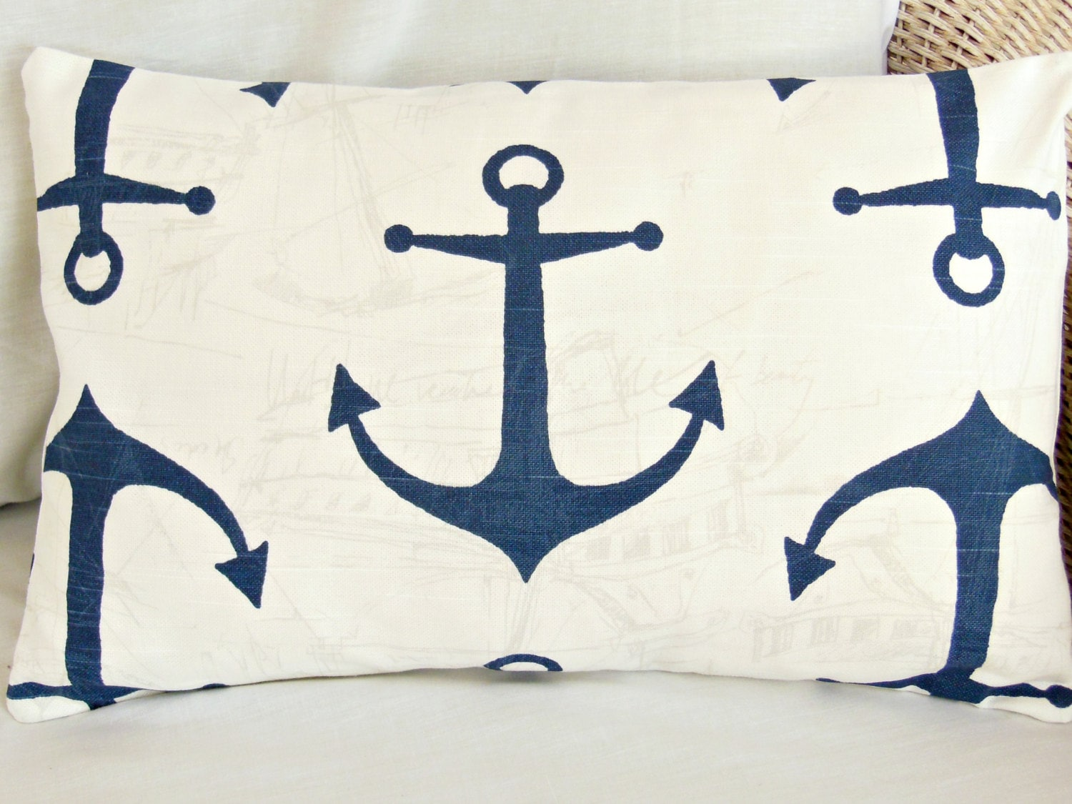 Nautical Coastal Throw Pillows : Decorative Lumbar Throw Pillow Cover Nautical by SeamsToMe23